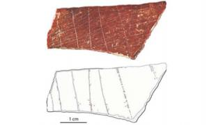 Photograph (top) and tracing (bottom) of an engraved human bone fragment found at Lingjing in China's Henan Province. Source: Francesco d'Errico and Luc Doyon / Fair Use.