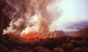 The dramatic eruption of a volcano – eyewitness accounts, ancient chronicles, and mythical tales have surrounded this terrifying and astounding natural phenomenon since the dawn of man. Vesuvius erupting, painting by Johan Christian Dahl.
