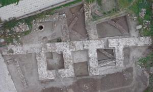 Aerial view of excavations at the fortress in Ahtopol, Bulgaria.