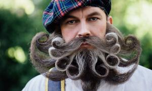 Brave Scot with an amazing beard and mustache curls in the Hungarian style.