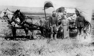A family migrating to western US in 1886.