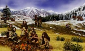 A family of Neanderthals in Eurasia, during the Pleistocene epoch