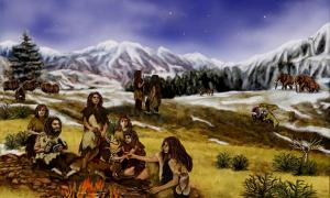 An artist's depiction of a family of Neanderthals.