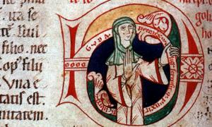 Self portrait of Guda, a 12th century nun and female scribe.