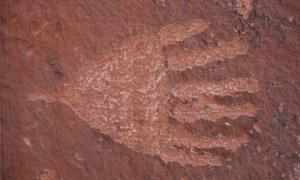 A petroglyph of a six-fingered hand. Red Tank Draw, AZ