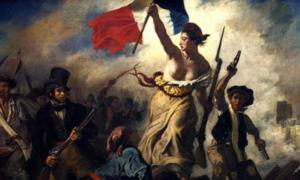 Liberty Leading the People by Eugène Delacroix (1830), celebrates the French Revolution (Louvre Museum).    Source: Public Domain
