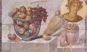 'Still life with glass bowl of fruit and vases' by a Pompeian painter in 70 AD, Museo Archeologico Nazionale, Naples, Italy. Insert: Mosaic depicting a man labelled as the gourmand Marcus Gavius Apicius.
