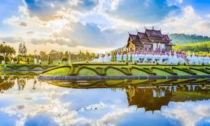 Thai style garden. Located in Royal Park Rajapruek, Chiang Mai, Thailand.