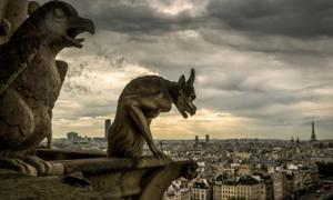 Gargoyles on the Cathedral of Notre Dame de Paris overlooking Paris, France. Source: scaliger / Adobe Stock.