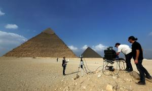 Scanning of the Great Pyramid of Egypt.