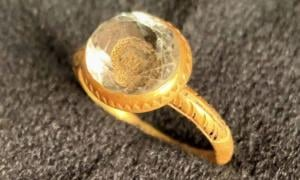 English Civil War Crystal and Gold Ring Discovered on the Isle of Man
