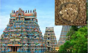 Main: Beautiful Gopuras in the Hindu Jambukeswarar Temple in Trichy (Tiruchirapalli), Tamil Nadu, South India, where the gold coin hoard was found.   Source: little_mouse / Adobe stock.         Inset: Representation of the gold coin hoard found at the temple.           Source: Portable Antiquities Scheme / CC BY 2.0.