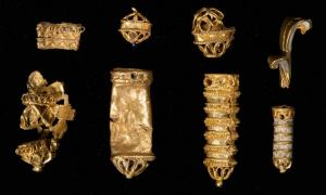 Twelve gold pieces of very fine workmanship have been discovered in the mud of the River Thames over the years by people with metal detectors.