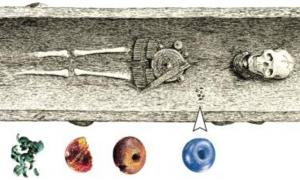 One of the newly-discovered graves in Demark containing a blue bead matching glass from an Egyptian workshop