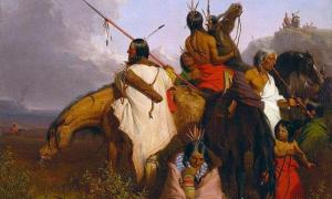 An 1845 painting of a group of Sioux people by Charles Deas.