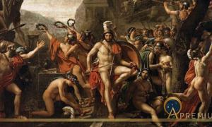 Leonidas at Thermopylae by Jacques-Louis David (1814) Louvre Museum (Public Domain)