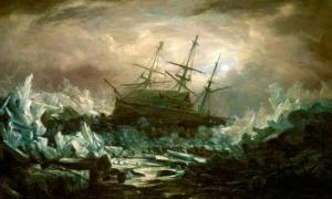 Perilous position of HMS 'Terror', Captain Back, in the arctic regions in the summer of 1837, by William Smith.