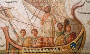 Odysseus mosaic at the Bardo Museum in Tunis, Tunisia. (2nd century AD) (Public Domain)