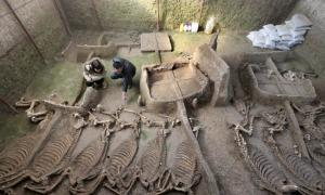 The horse burial pit in the newly-discovered tomb.