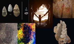 Key images from the top human origins stories of 2018: Sophisticated tools and large, all-purpose handaxes from the Olorgesailie Basin in Kenya. (Human Origins Program, Smithsonian) Drawing of a Neandertal mother and a Denisovan father with their child, a girl, at Denisova Cave in Russia. (Petra Korlević) Neanderthal cave art in La Pasiega, Spain (C.D Standish, A.W.G. Pike and D.L. Hoffmann) Photograph of a footprint beside digitally-enhanced image of the same feature. (Duncan McLaren) The left hemi-maxilla