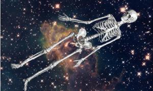 A human skeleton in space.