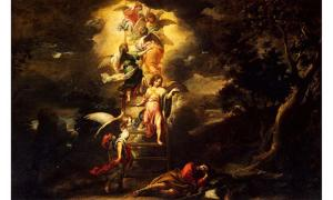 'Jacob's Dream' with Jacob's ladder (1660-1665) by Bartolomé Esteban Murillo.