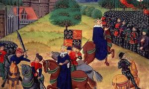 Wat Tyler on June 15th, being stabbed by William Walworth, the mayor of London, with King Richard II looking on. He was later decapitated and his head displayed on London Bridge for his involvement in what became known as Wat Tyler's Rebellion. Source: Public domain