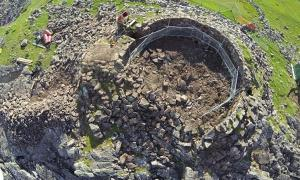Aerial view of the Iron Age roundhouse at Clachtoll broch in Assynt, Scotland.
