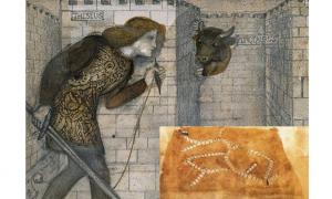 Theseus and the Minotaur in the Labyrinth (1861) by Edward Burne-Jones