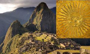 Main: The Inca site of Machu Picchu. Inset: Golden sun
