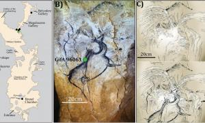 (A) A map of the cave with prehistoric representations of volcanoes, including (B) and (C) the Chauvet-Pont d'Arc megaloceros and volcanic spray (Photo by D. Genty, drawing by V. Feruglio-D Baffier).