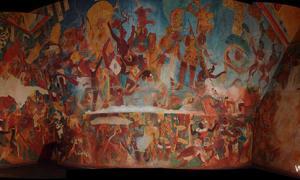Mayan Wall Depiction - Spiked Skulls
