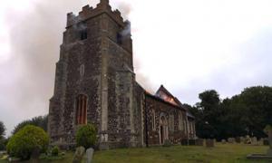 : The blaze at the medieval church in Wimbotsham. Source: Norfolk Fire & Rescue Service / Facebook.