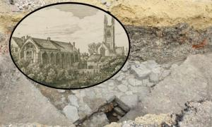 "Ruins of the medieval friary found under the car park. (Cotswold Archaeology) ""The White Friars and Church of St. Mary de Crypt in Gloucester"" drawn and etched by Samuel Lysons. (ancestryimages.com)"