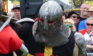 Mr Powell, the recent vigilante medieval knight competing in a medieval tournament.