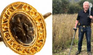Left: The Medieval ring. Right: Tom Clark Credit: Hansons Auctioneers
