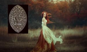 Main: Medieval Woman. Source: moredix / Adobe Stock Inset: The medieval seal of a young woman was found in Buckinghamshire, England. Source: Oxfordshire County Council