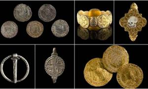 Images of six of the medieval treasures found in Wales by metal detectorists in recent years.