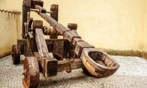 Medieval wooden catapult