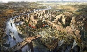 Illustration of city in Mesopotamia.