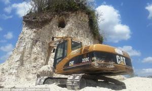 Ancient Maya Pyramid destroyed