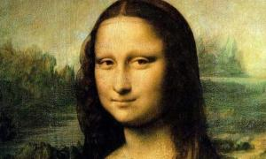 Detail of Leonardo da Vinci's famous painting, The Mona Lisa. It now hangs in the Louvre in Paris.