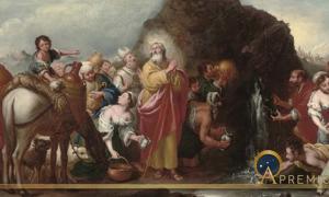 Moses striking the rock by Murillo after Bartolomé Esteban Perez (style) – (1666-1670) (Public Domain)
