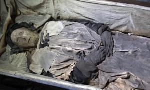 The mummified remains of the 17th-century bishop, Peder Winstrup. A fetus was also in the bishop's coffin.