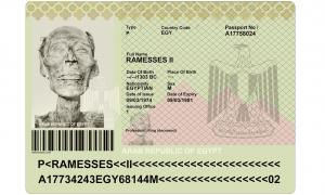 A mock up for the only mummy with a passport