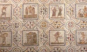 Mosaic with the months of the year, starting with the Roman first month March.