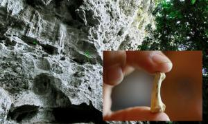 Penablanca, Cagayan Province, Philippines, near the entrance to the limestone Callao Cave where there is evidence of a new human species. Source: Michael / Adobe. Inset: A foot bone from Homo luzonensis. (Xinhua/Rouelle Umali)
