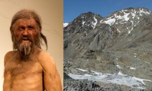 Reconstruction of Otzi the Iceman by Alfons & Adrie Kennis. (Thilo Parg/CC BY SA 3.0) View looking down westwards to the Ötzi site. (J.H. Dickson et al)