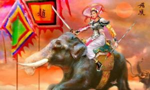 A painting of Bà Triệu on her elephant.