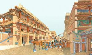 Artist's rendering of the palace of Knossos.